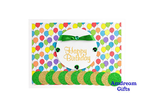 Green Sparkles and Balloons Happy Birthday Card