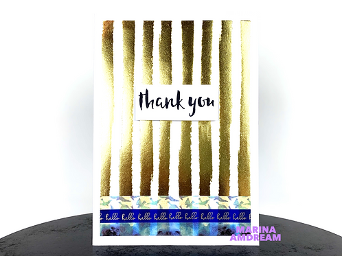 Gold and Blue Thank You Card