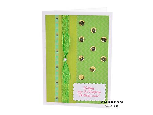 Green & Gold Happy Birthday Card