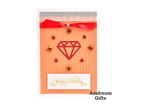 Red & Orange Diamond Happy Birthday Card