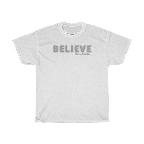 Believe Heavy Cotton Tee Black Font