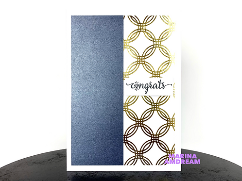 Blue and Gold Congrats Card