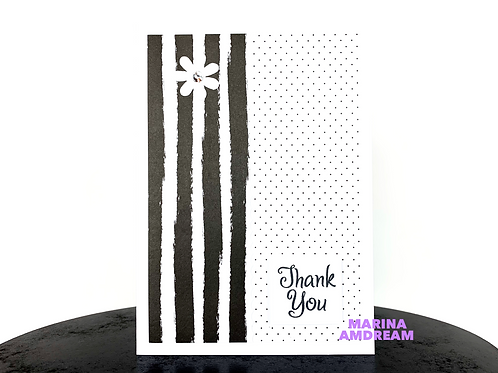 Flowers and Lines Thank You Card