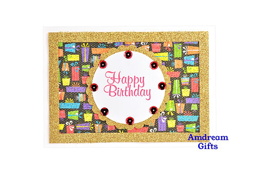 Gold & Gift Bags Happy Birthday Card