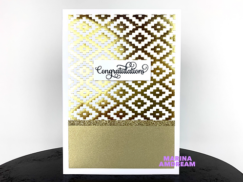 Gold Pattern Congratulations Card