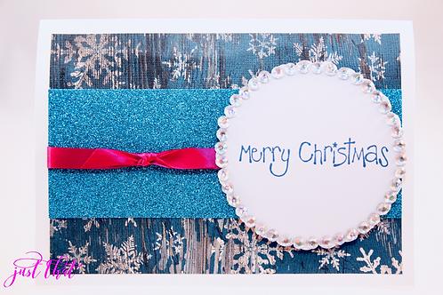 Merry Christmas Blue Sparkle Card