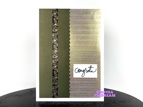 Green and Gold Congrats Card