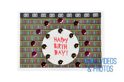 Birthday Candles & Cameras Greeting Card