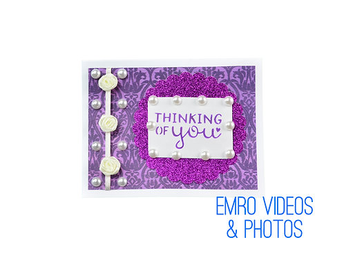 Thinking Of You Purple & White Card