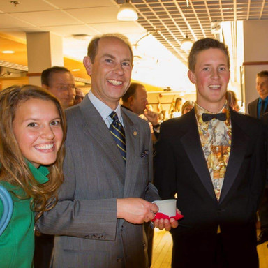 with Prince Edward, Earl of Wessex, and Quinton Lucyk at Duke of Edinburgh awards ceremony