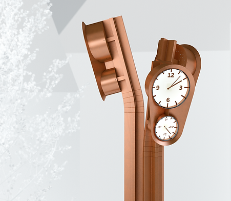 Public Object/Clock design, inspired by Salaspils Municipality's rich industrial and botancal history. Made in copper.
