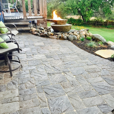 Patio and Bubbling Fire Rock