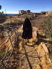 Mercedes, my host mom, leading me to our country home (Puno, Bolivia)