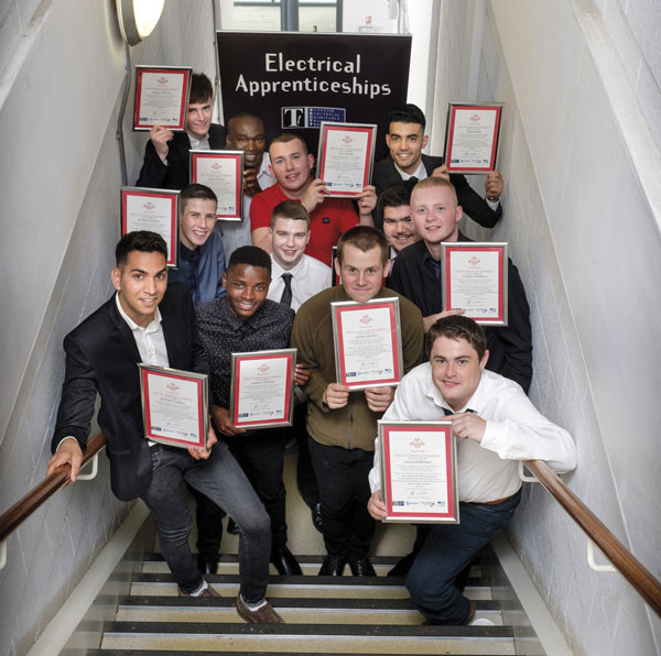 Some of the students from the Prince's Trust's Get Into Electrical event