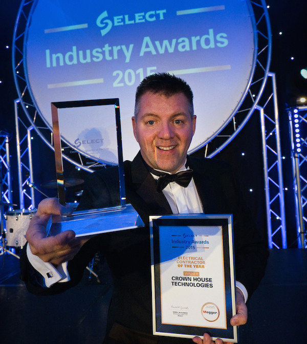 Crown House Technologies caption as ' Crown House Technologies were named Electrical Contractor of the Year 2015'