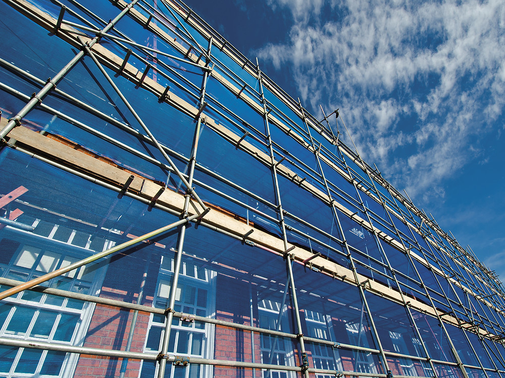 Site Scaffold on a bright day