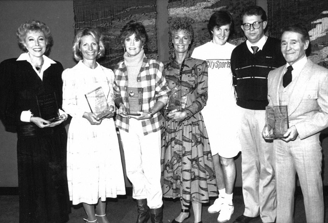 1985, City Sports Magazine honors Gilda Marx, Jackie Sorensen, Jane Fonda, Judi and Jack LaLanne with the Legends of Aerobics Award