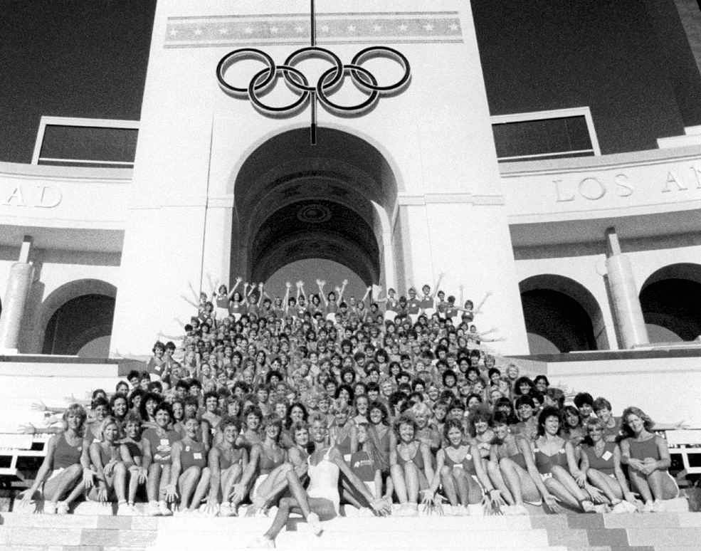1984, Jazzercise performs in the Opening Ceremonies of the Los Angeles Olympics before a TV audience of 2.5 billion viewers