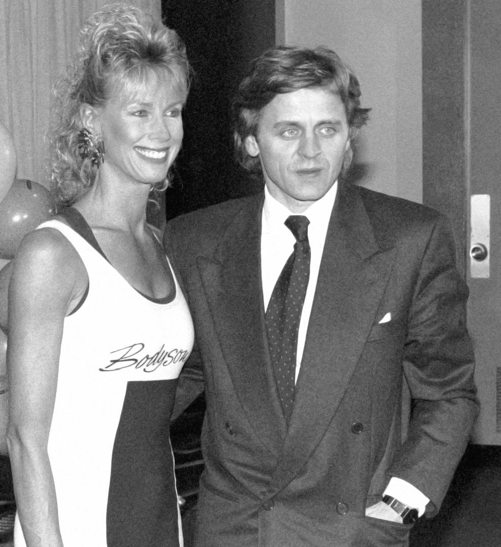 1990, Judi at a dance/fitness apparel fashion show in New York with Mikhail Baryshnikov