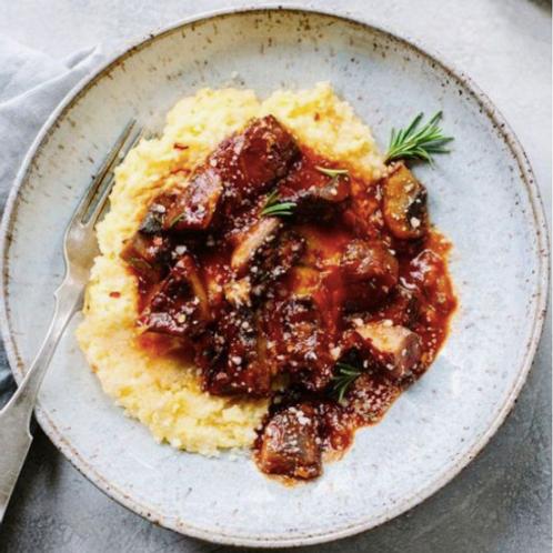 Braised Brinjal & Mushroom Ragu with Creamy Polenta