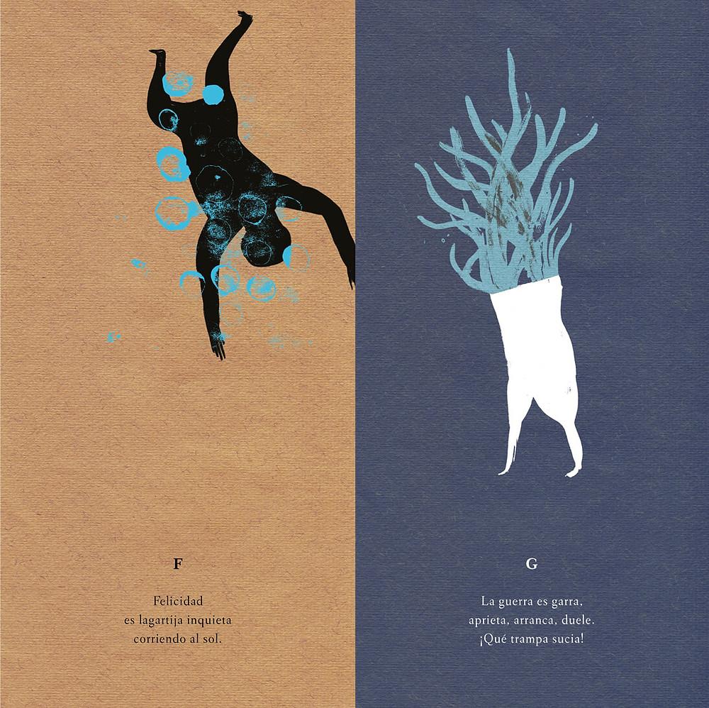 """Ilustración de Guridi para """"Abecedario del cuerpo imaginado"""", escrito por Mar Benegas (A buen paso)"""
