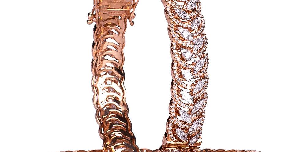 Marquise Diamond Studded Gold Bangles