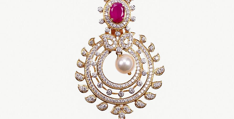 Diamond Studded Gold Pendant Necklace Set With Ruby Embellishments