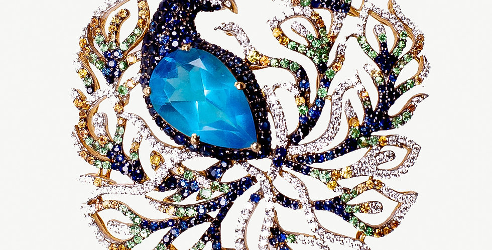 Peacock Design Diamond Studded Pendant Set