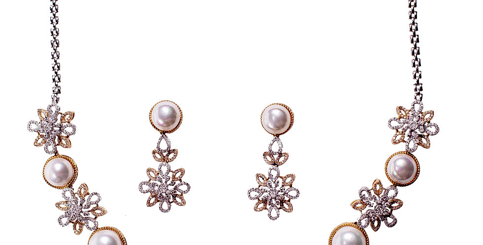 Diamond Studded Pearl Necklace Set