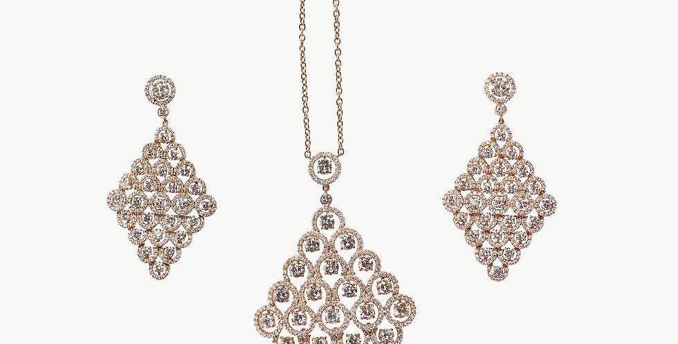 Diamond Studded Rose Gold Pendant Ear Ring Set