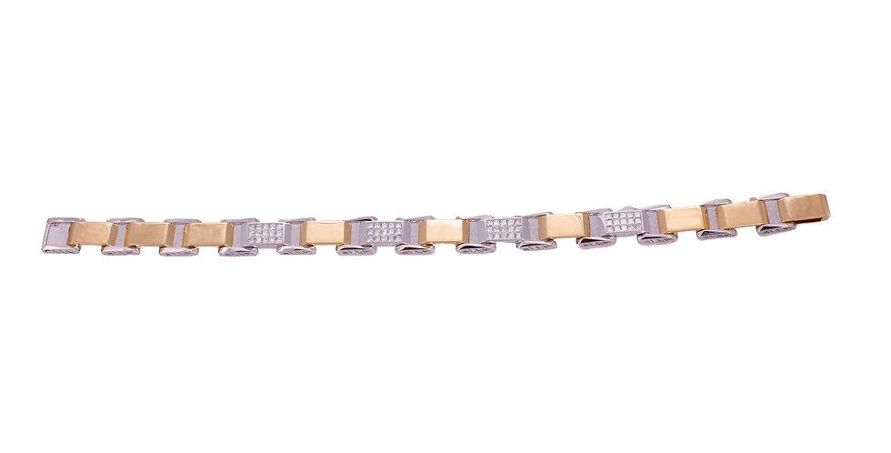 Diamond Studded Yellow Gold Bracelet For Men