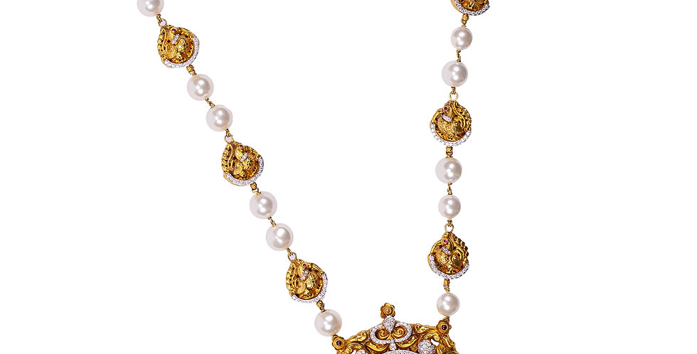 Traditional Temple Jewelry Long Haram Necklace In Gold For Women