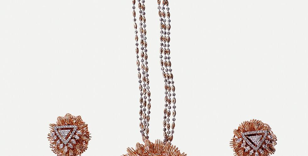 Fancy Chocolate Diamond Studded Pendant Set