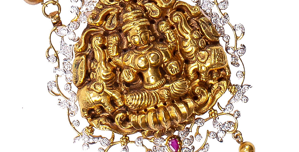 Traditional Diamond Lakshmi Haram Necklace In Gold For Women
