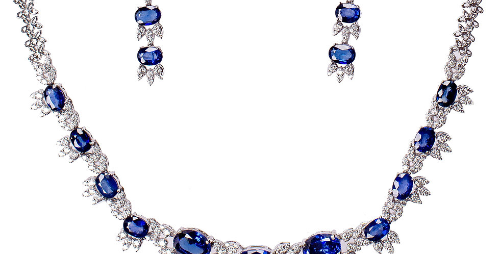 Diamond &  Blue Sapphire Studded In White Gold Necklace Set