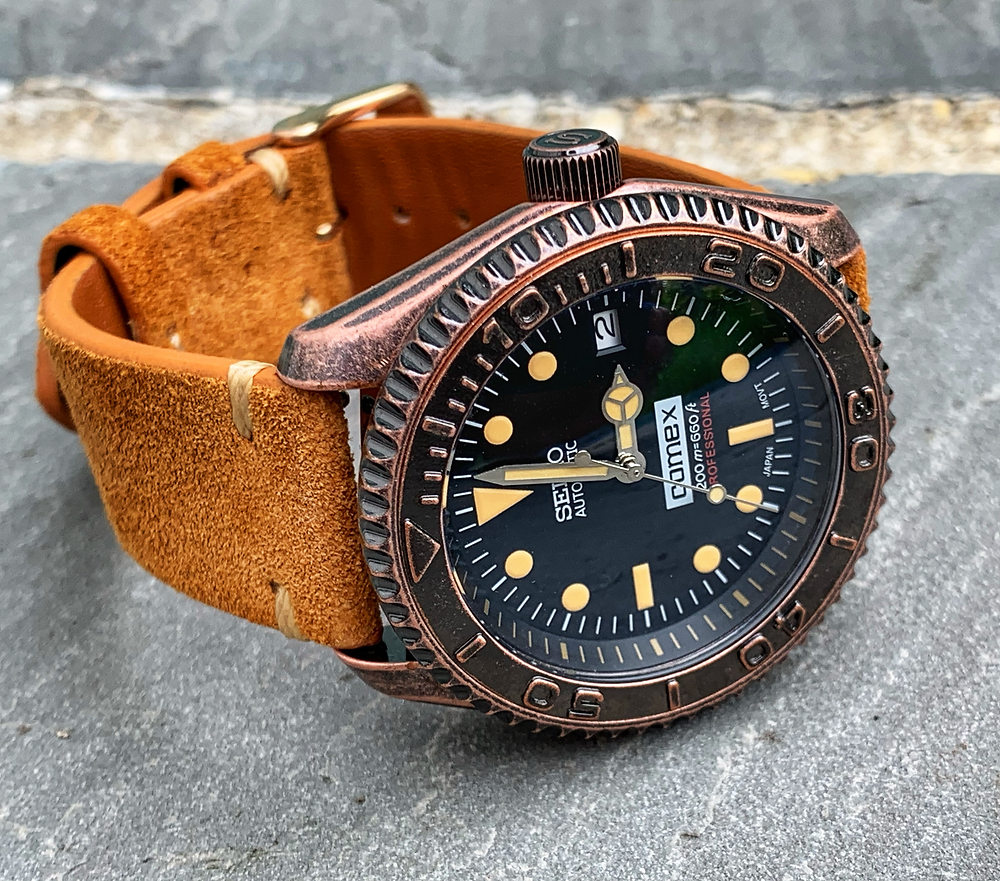 Vintage Bronze Dive Watch on its side