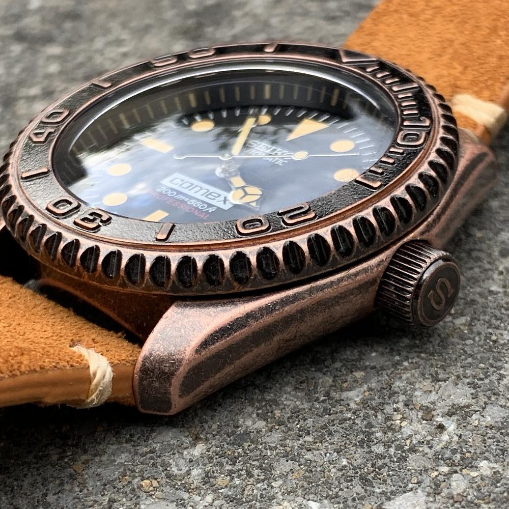 Vintage Seiko Bronze Dive Watch case and crown