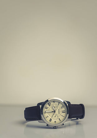 Fossil Watch with Black Leather Watch Strap