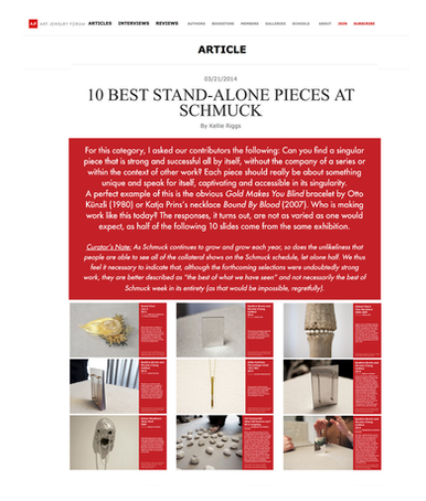 Kino at Schmuck 2014 on Art Jewelry Forum; 2014