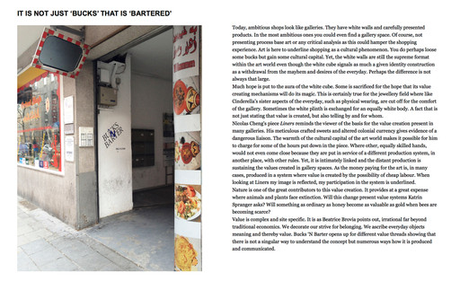 Bucks 'N Barter co-curated exhibitionon; publication; introduction text by Christina Zetterlund; 2013