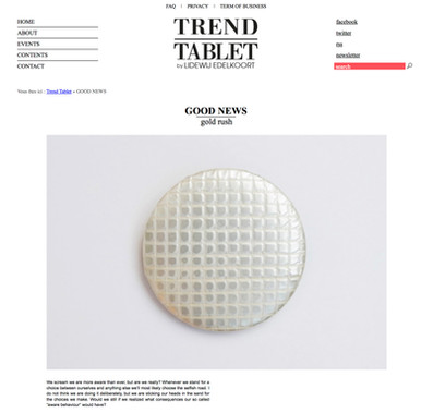 Gold Rush on Trend Tablet | Lidewij Edelkoort; interview by Cécile Cremer, Wandering The Future; 2017