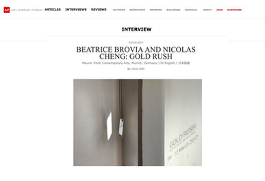 Gold Rush on Art Jewelry Forum; interview by Olivia Shih; 2017