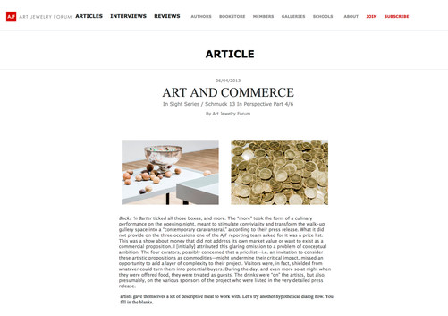 Bucks 'N Barter, co-curated exhibition on Art Jewelry Forum; 2013