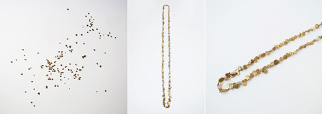 Necklace; gold, quartz crystal; commission work for CULT exhibition, curated by CURRENT OBSESSION; at Stedelijk Museum's-Hertogenbosch; 2016