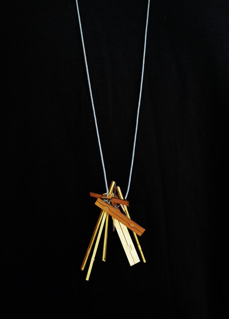 Pendant; gold, quartz crystal, reflective thread; 2016