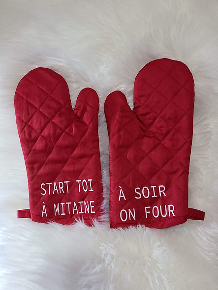 Mitaines four coquines rouge Créations Cora