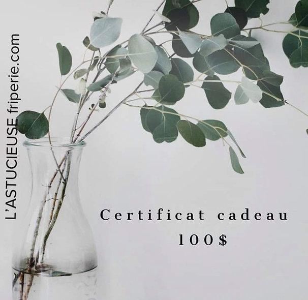 Certificat-cadeau 100 $