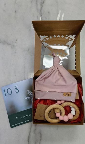 Boîte cadeau de naissance fille avec certificat cadeau