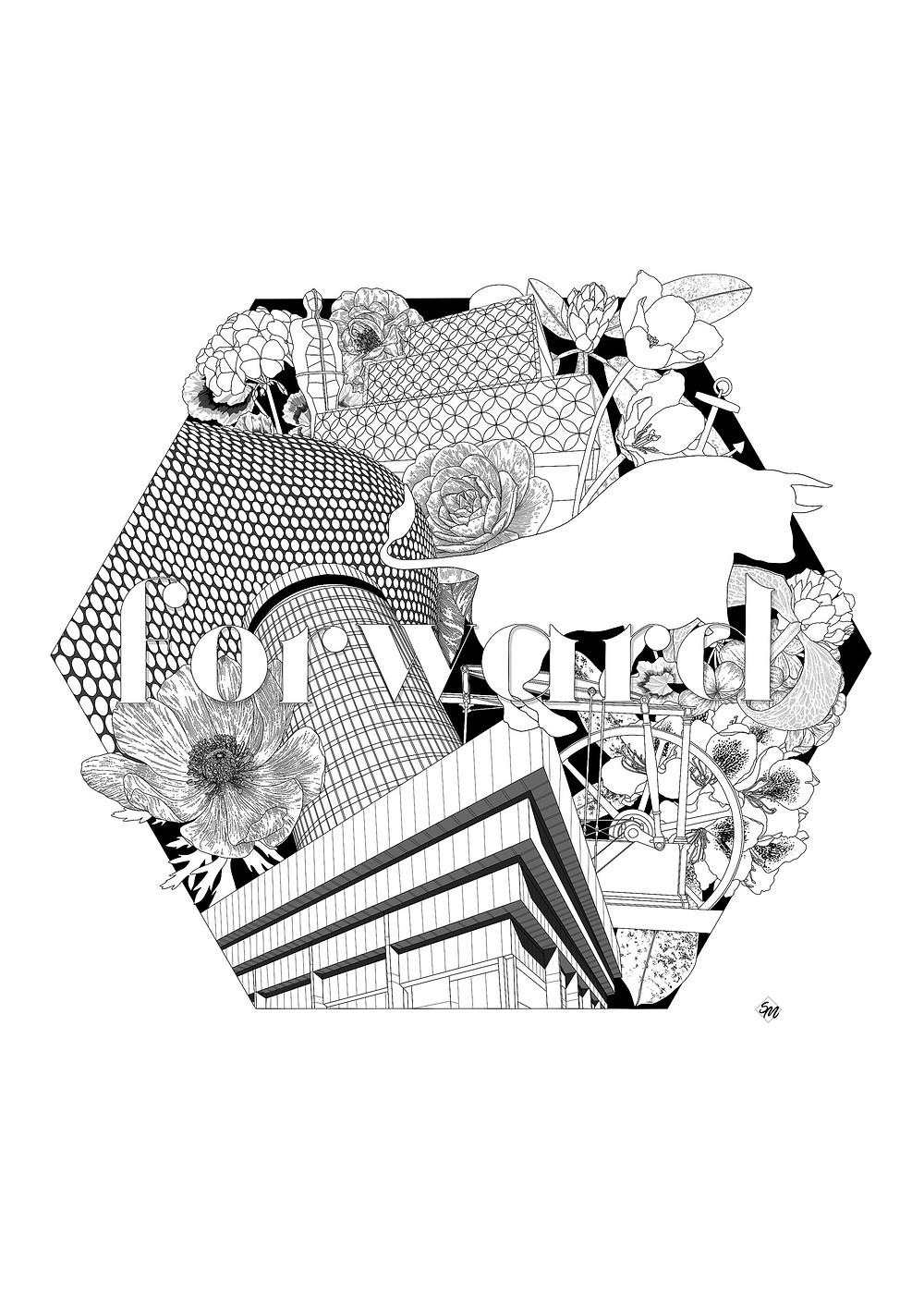 Simona Illustrates #colourinbrum Birmingham Colouring Art Print