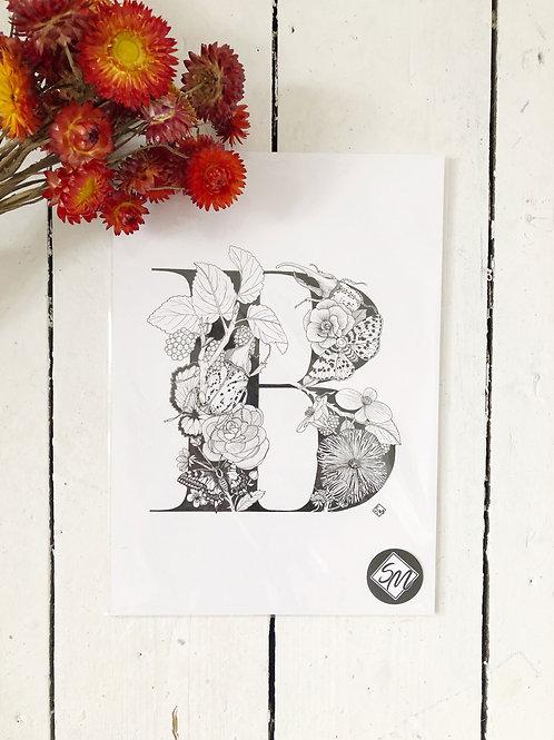 Original Art - Ink Letter B Illustration